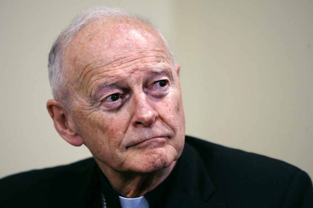 In this May 16, 2006 file photo, former Washington Archbishop, Cardinal Theodore McCarrick pauses during a press conference in Washington. (J. Scott Applewhite/AP)