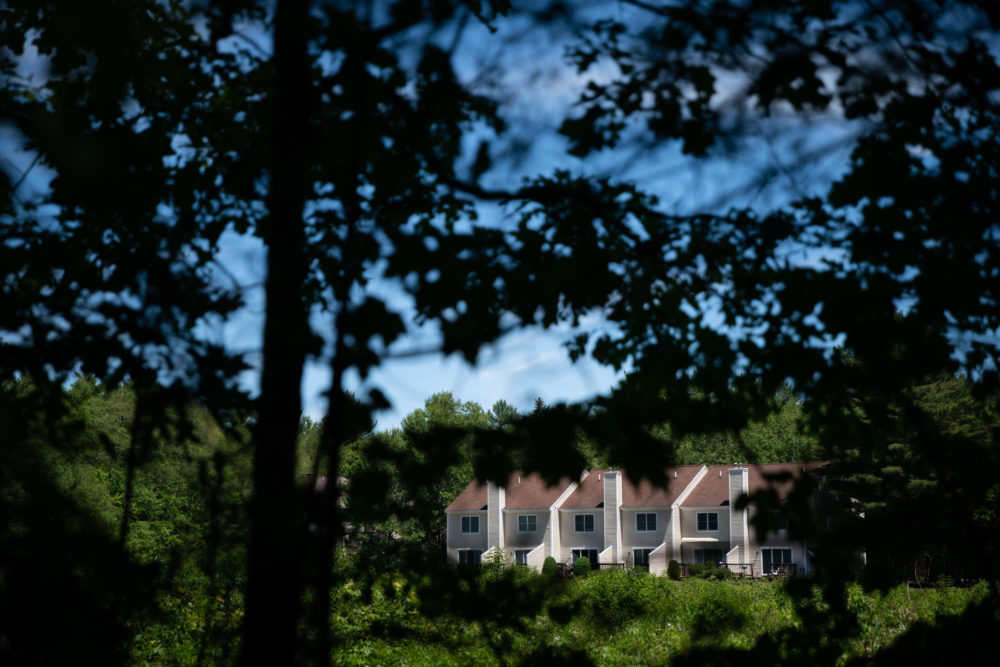 A condominium complex is seen through tress at the edge of the White Mountain National Forest where a controlled burn is planned to prevent wildfires in Conway, N.H. (Elizabeth Frantz for NPR)
