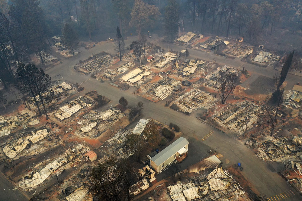 An aerial view of a neighborhood destroyed by the Camp Fire on November 15, 2018, in Paradise, California. (Justin Sullivan/Getty Images)