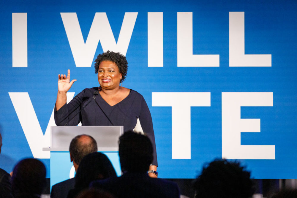 Stacey Abrams speaks to a crowd at a Democratic National Committee event in Atlanta on June 6, 2019 in Atlanta, Georgia. (Dustin Chambers/Getty Images)