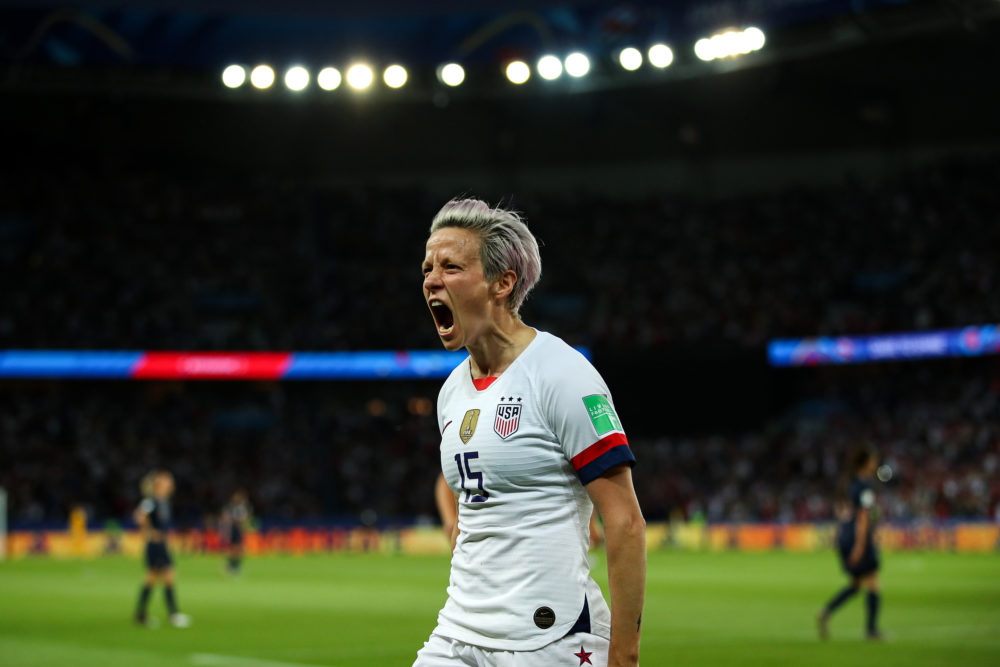 Megan Rapinoe of the USA celebrates after scoring her team's second goal during the 2019 FIFA Women's World Cup France Quarter Final match between France and USA at Parc des Princes on June 28, 2019 in Paris, France. (Richard Heathcote/Getty Images)