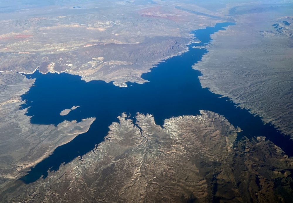 An aerial view of Lake Mead in Nevada on January 2, 2020. (Daniel Slim/Getty Images)