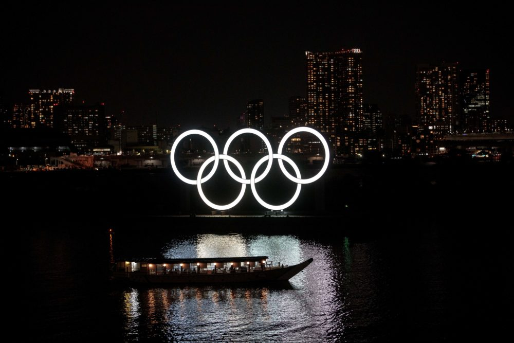 The Olympic rings are seen at Tokyo's Odaiba district on March 23, 2020. (Behrouz Mehri/Getty Images)