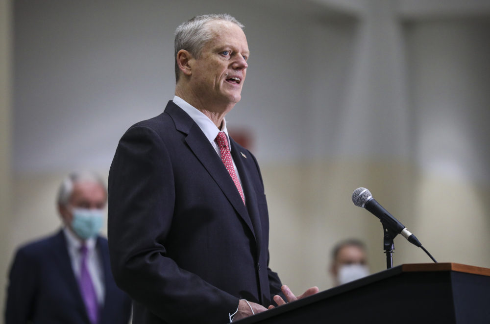 Gov. Charlie Baker speaks to the press at the Hynes Convention Center FEMA Mass Vaccination Site on March 30, 2021 in Boston. (Erin Clark-Pool/Getty Images)