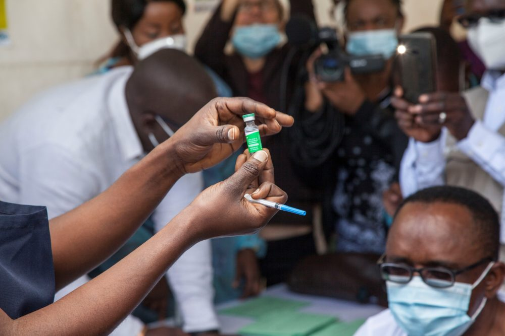 A nurse prepares to administer the COVID-19 vaccine at the University Teaching Hospital UTH in Lusaka, Zambia. (Xinhua/Martin/Getty Images)