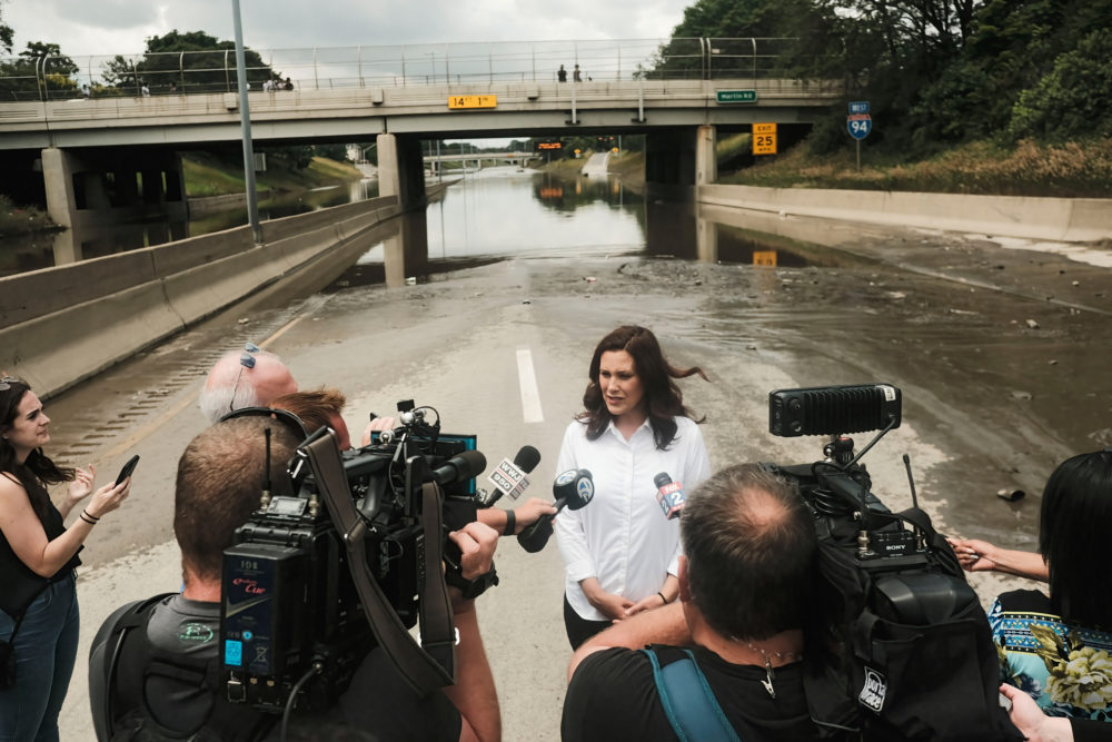 Michigan Gov. Gretchen Whitmer speaks to members of the media during a press conference held on the still inundated I-94 in Detroit on June 28, 2021. After a weekend of heavy storms beginning on Friday night and lasting through the weekend rainwater flooded parts of I-94 in Detroit, Michigan forcing some motorists to abandon their vehicles and seek shelter from the heavy rains. (Matthew Hatcher/SOPA Images/LightRocket via Getty Images)