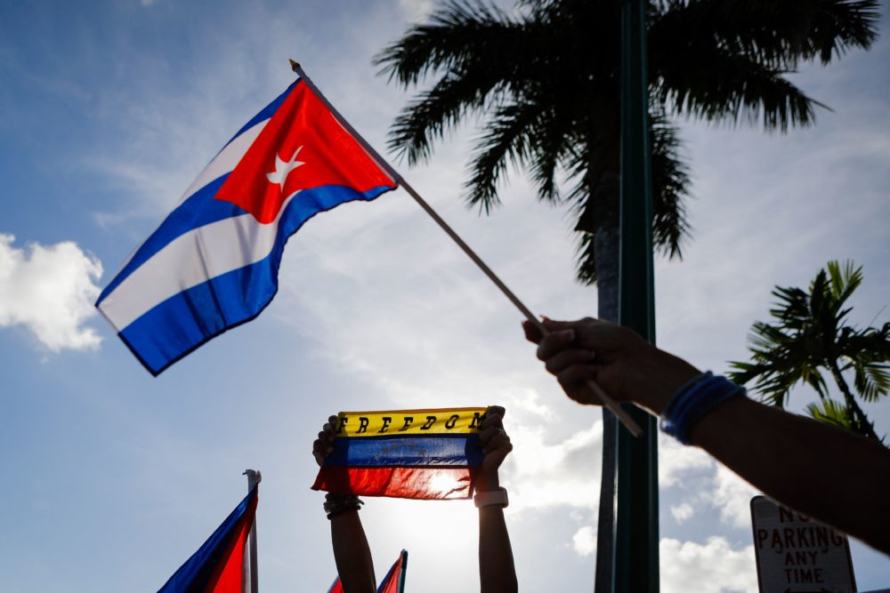A Cuban flag is seen during a recent protest showing support for Cubans demonstrating against their government. (Eva Marie Uzcategui/AFP via Getty Images)