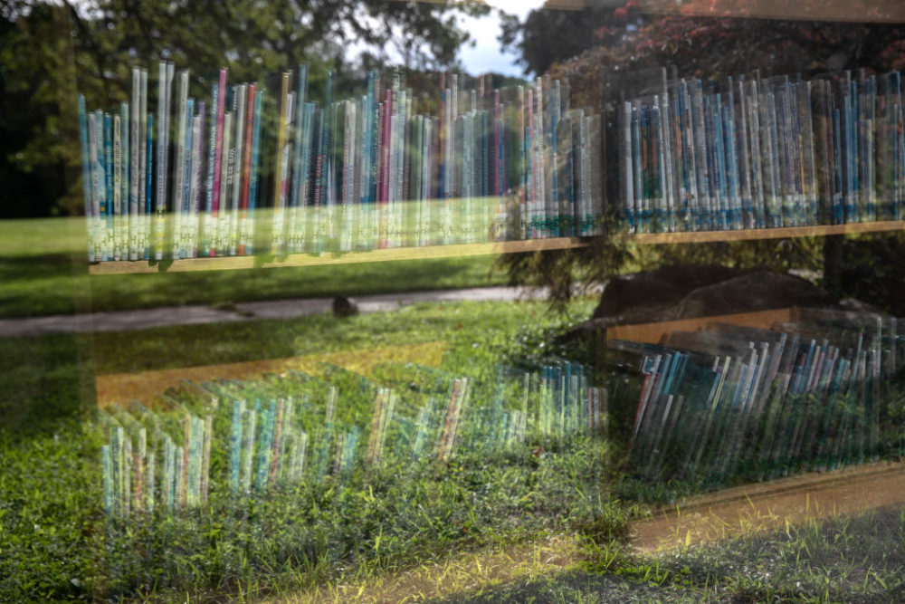 Shelves of library books stand reflected in the media center of the Newfield Elementary School on August 31, 2020, in Stamford, Connecticut. (John Moore/Getty Images)