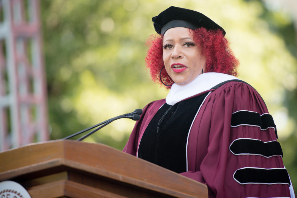 Nikole Hannah-Jones speaks on stage during the 137th Commencement at Morehouse College on May 16, 2021 in Atlanta, Georgia. (Marcus Ingram/Getty Images)