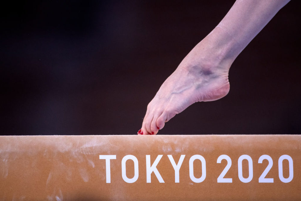 A foot of gymnast Gabriela Sasnal of Poland on the balance beam during the Artistic Gymnastics Podium Training at the Ariake Gymnastics Centre in preparation for the Tokyo 2020 Olympic Games on July 22, 2021 in Tokyo, Japan. (Tim Clayton/Corbis via Getty Images)
