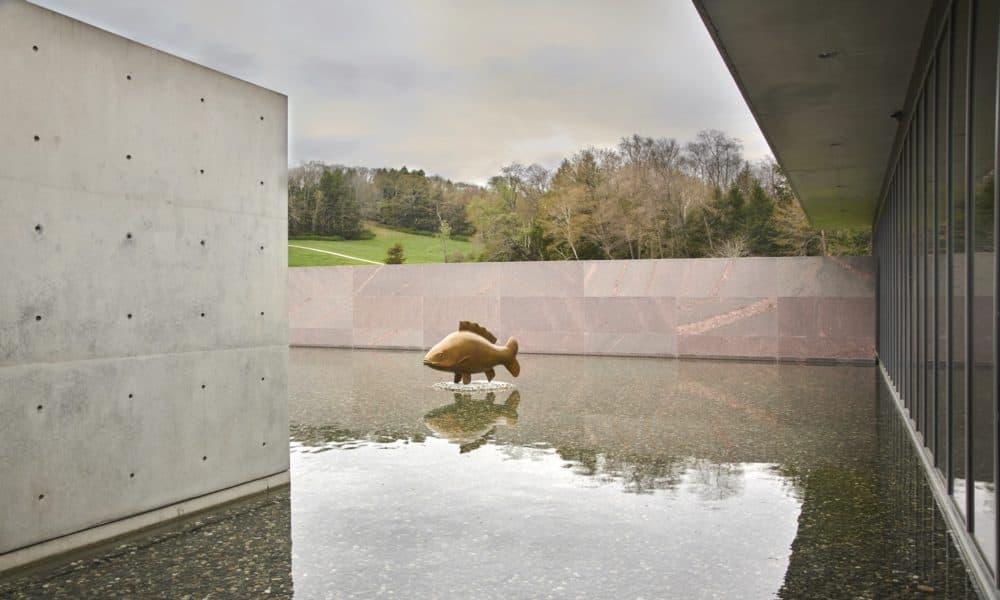 "François-Xavier Lalanne's ""Très Grande Carpe"" in the Clark's reflecting pool. (Courtesy Clark Art Institute/T Clark)"