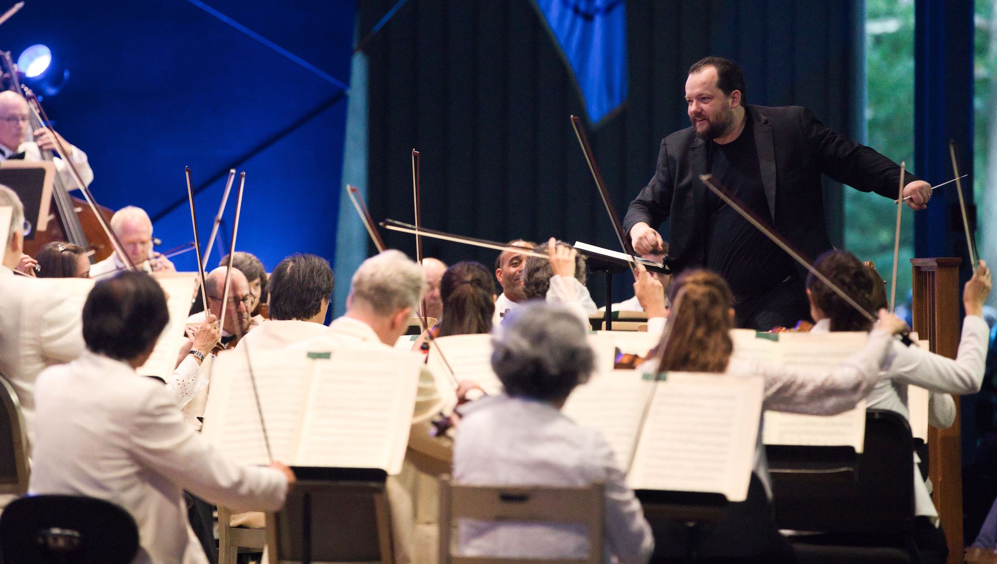 Andris Nelsons leads the Boston Symphony Orchestra as Tanglewood reopened Saturday, July 10. (Courtesy Hilary Scott)