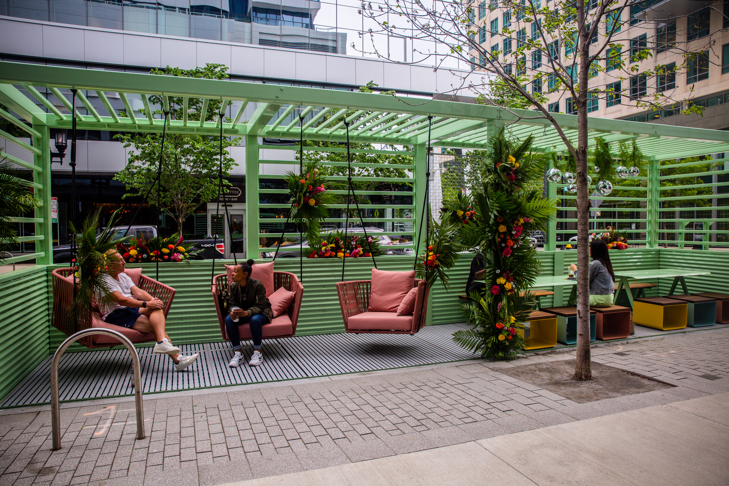 """WS Development has installed several """"parklets"""" on its properties in the Seaport. (Boston Seaport by WS Development)"""