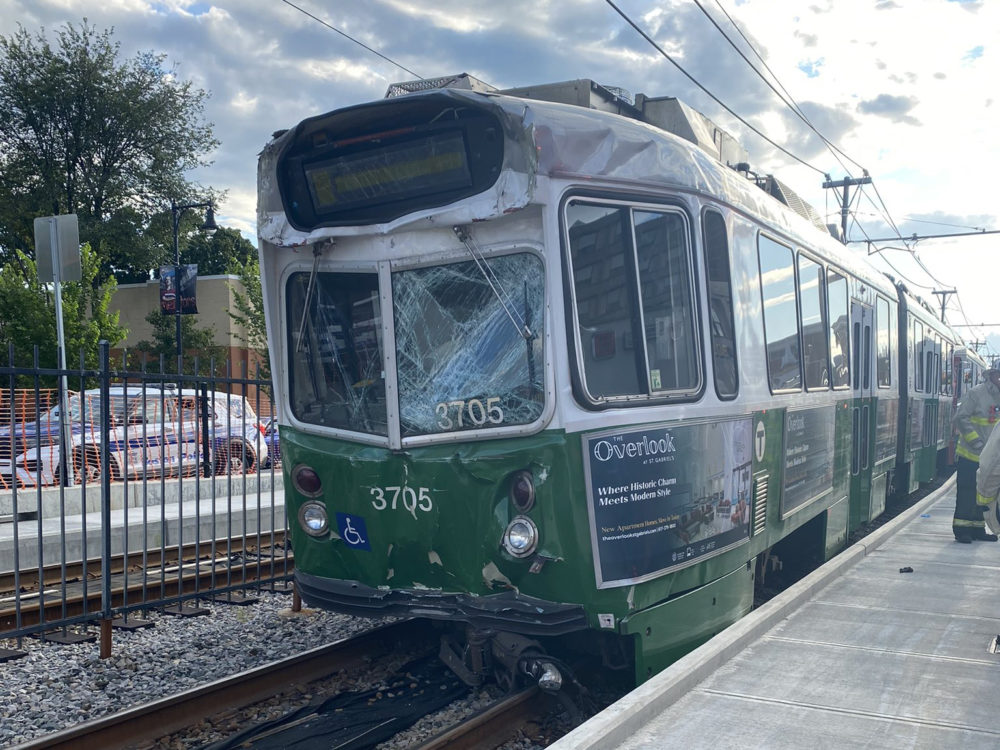 An MBTA Green Line car collided with another trolley on Commonwealth Avenue. (Courtesy Boston Fire Department)