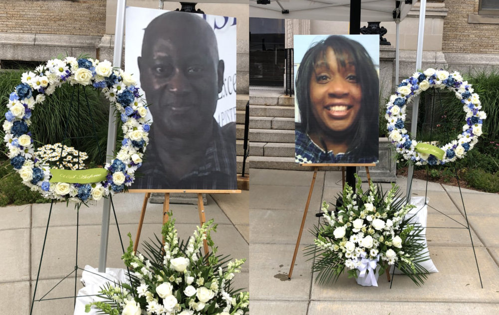 Retired State Trooper David Green, 58, and Ramona Cooper, 60, of Winthrop, were remembered by community members at a vigil on Thursday evening. Officials say they are investigating the killings as a possible hate crime. (Composite Image, Anthony Brooks/WBUR)