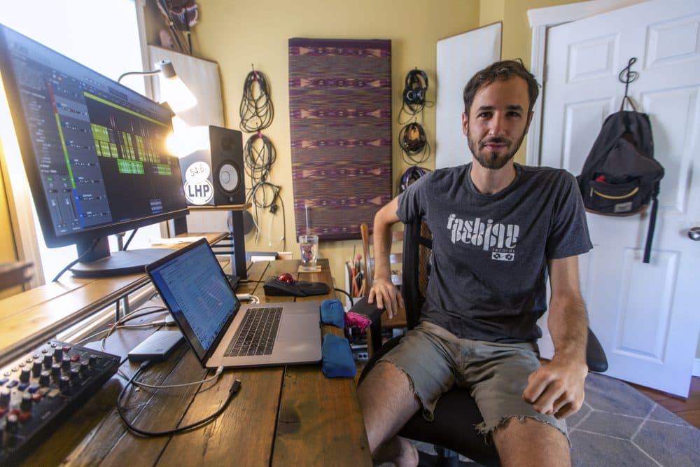 Ian Coss in his home recording studio. (Jesse Costa/WBUR)