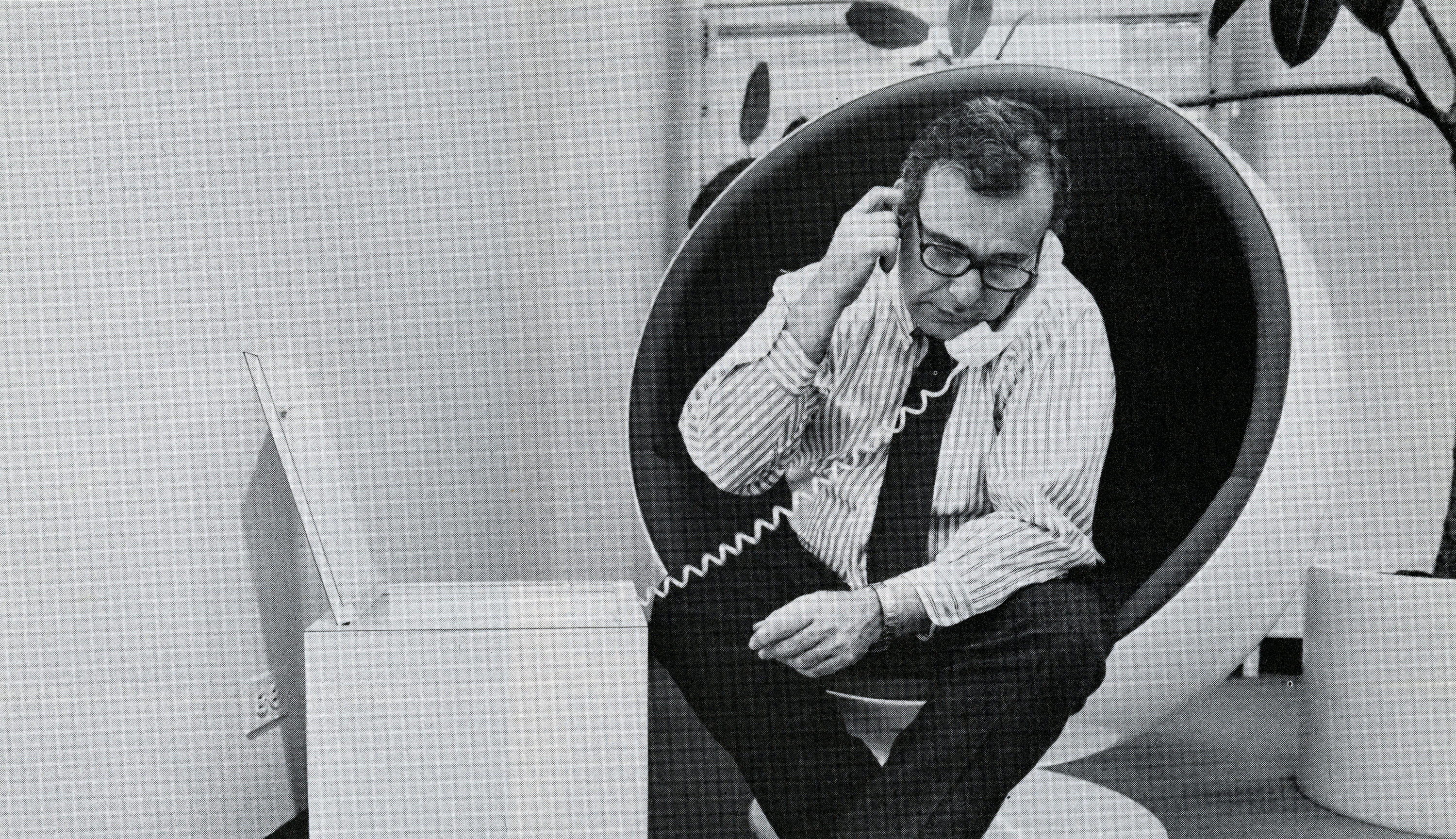 """Donald Rugoff in his office in the 1970s as seen in a still from the documentary """"Searching for Mr. Rugoff."""" (Courtesy Sy Johnson/Film Comment)"""