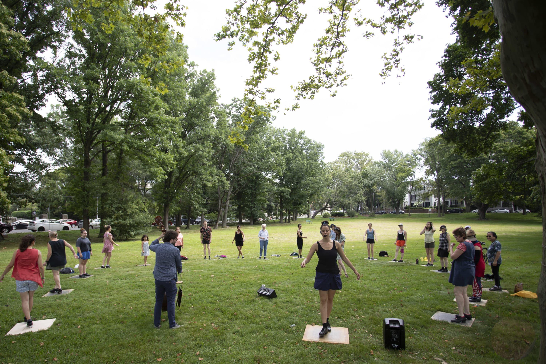 Jenny Herzog teaching a recent Saturday Tap for Joy class. (Courtesy Carlos Arzaga)