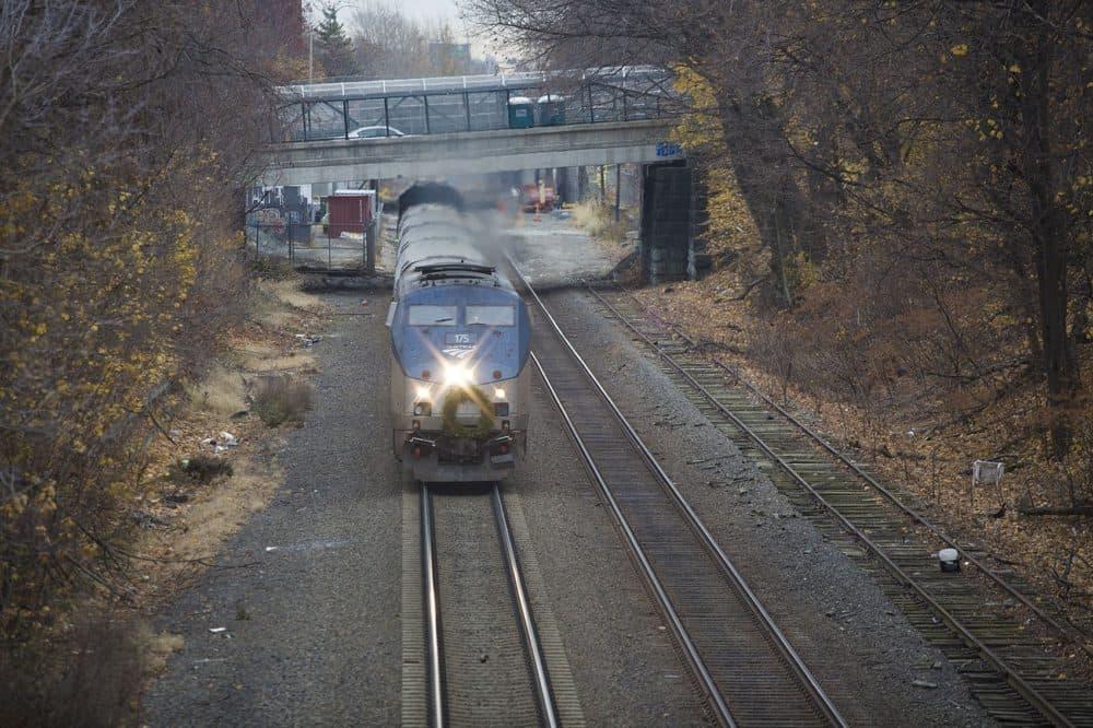 An Amtrak train barrels down the tracks in the Somerville-Medford area. (Jesse Costa/WBUR)