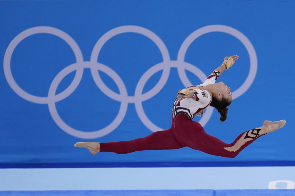 Pauline Schaefer-Betz, of Germany, performs her floor exercise routine during the women's artistic gymnastic qualifications at the 2020 Summer Olympics, in Tokyo. (Gregory Bull/AP)
