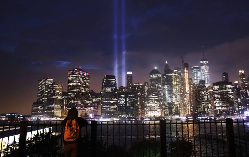 The 'Tribute in Light' memorial lights up lower Manhattan near One World Trade Center on September 11, 2018 in New York City. (Spencer Platt/Getty Images)