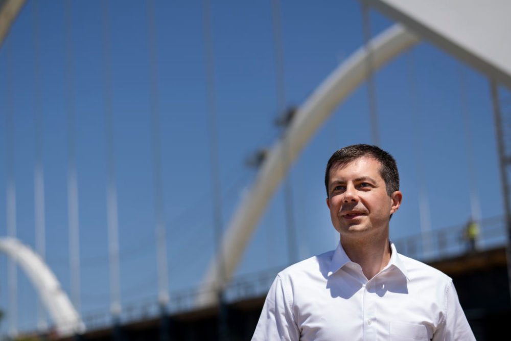 Transportation Secretary Pete Buttigieg arrives for a news conference after touring the construction site atop the new Frederick Douglass Memorial Bridge on May 19, 2021 in Washington, D.C. (Drew Angerer/Getty Images)