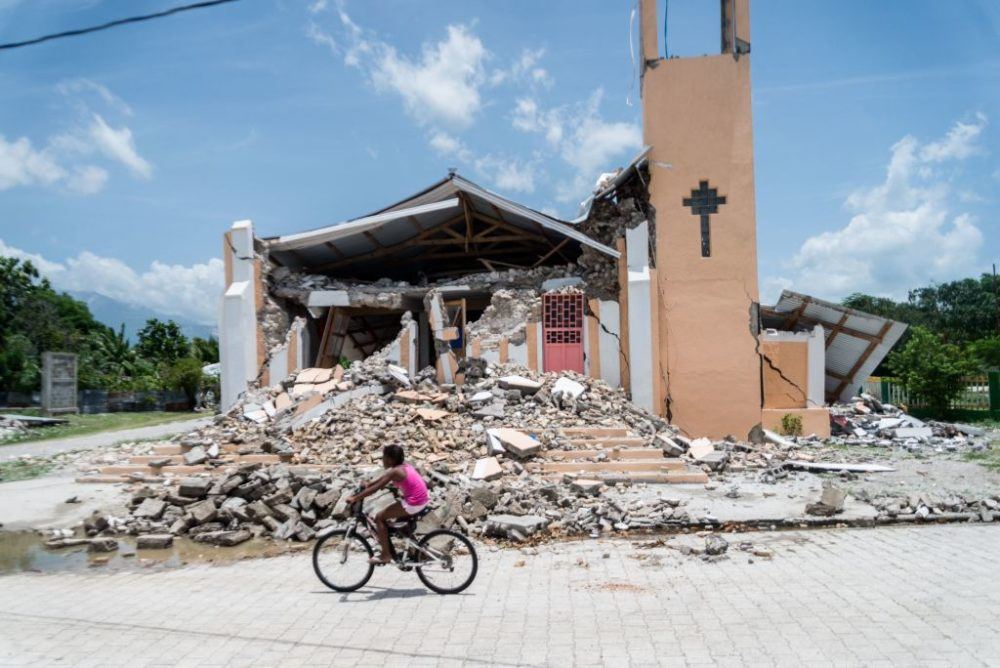 The Church St Anne is seen completely destroyed by a 7.2 magnitude earthquake in Chardonnieres, Haiti, on August 18, 2021. (Reginald Louissaint Jr/AFP/Getty Images)