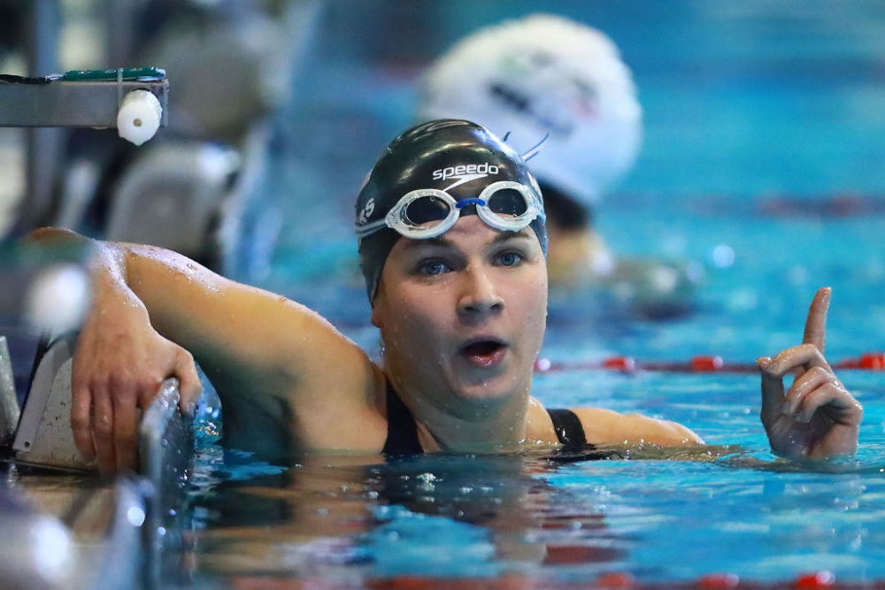 Rebecca Meyers of United States celebrates after winning Women's 400 m Freestyle S13 during day 4 of the Para Swimming World Championship  in Mexico City on November 5, 2017. (Hector Vivas/Getty Images)