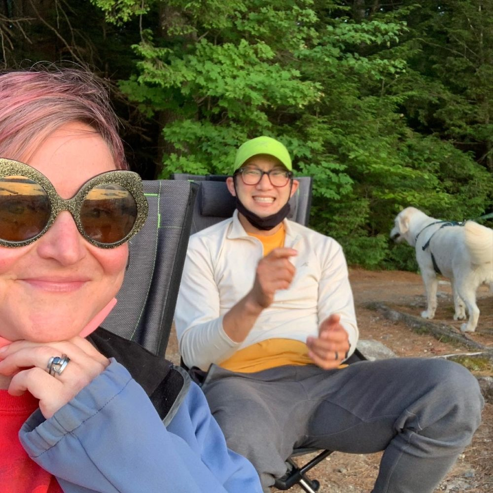 The author and her husband at the weekly campfire. (Courtesy Kendra Stanton Lee)