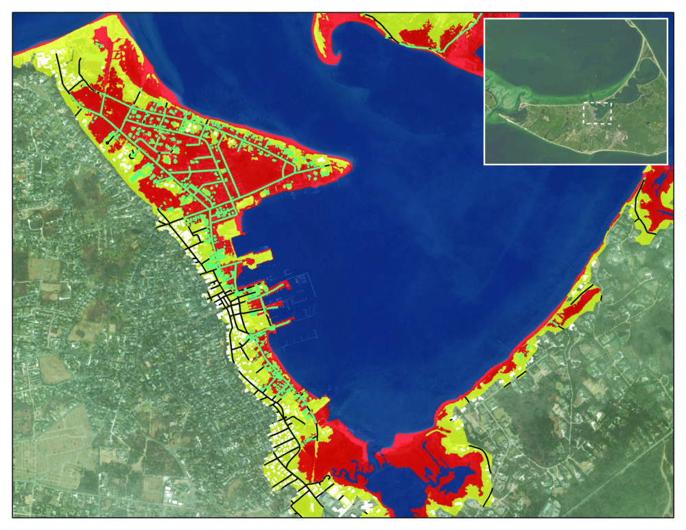 Projected storm and tidal flooding by 2015 in Nantucket Harbor. (Courtesy Trustees of Reservations)