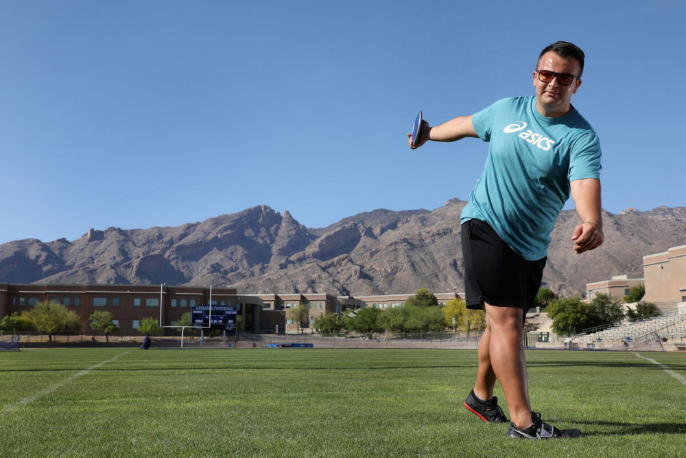 Refugee athlete Shahrad Nasajpour, originally from Iran, trains in Tuscon, Arizona for the sport of discus. (Christian Petersen/Getty Images)