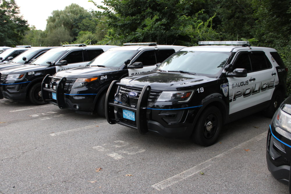 Police cruisers in Saugus. Stephanie Gerardi, 38, was shot and killed by a Saugus police officer after her family called police for help. (Todd Wallack/WBUR)