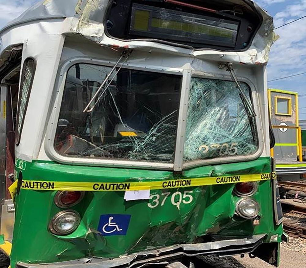 This Green Line car is significantly damaged after striking another trolley along Commonwealth Avenue in Boston. (Courtesy NTSB)