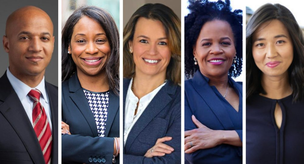 Boston mayoral candidates John Barros, Andrea Campbell, Annissa Essaibi George, Kim Janey and Michelle Wu.