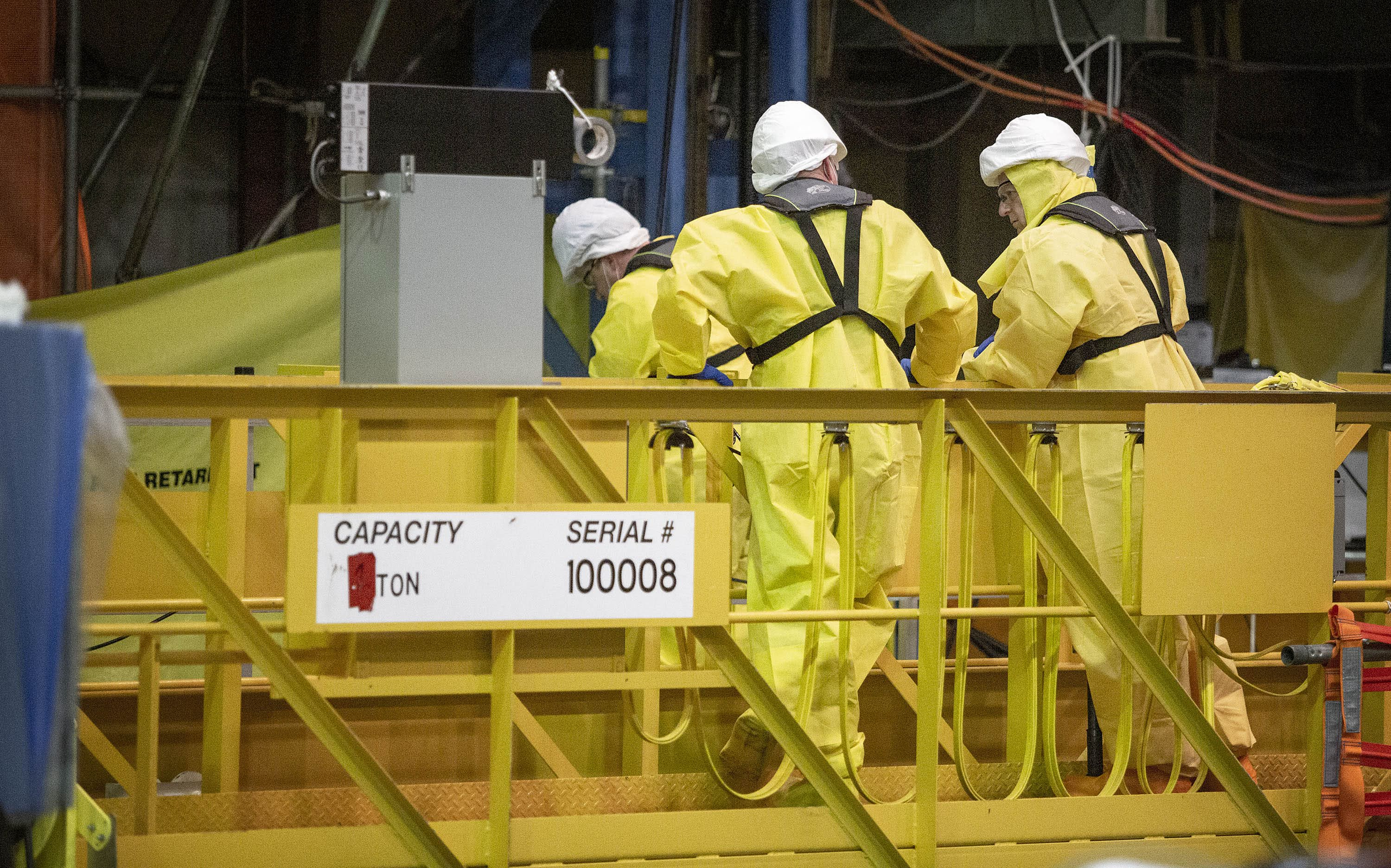 A decommissioning crew works on dismantling the plant at Pilgrim Nuclear Power Station. (Robin Lubbock/WBUR)