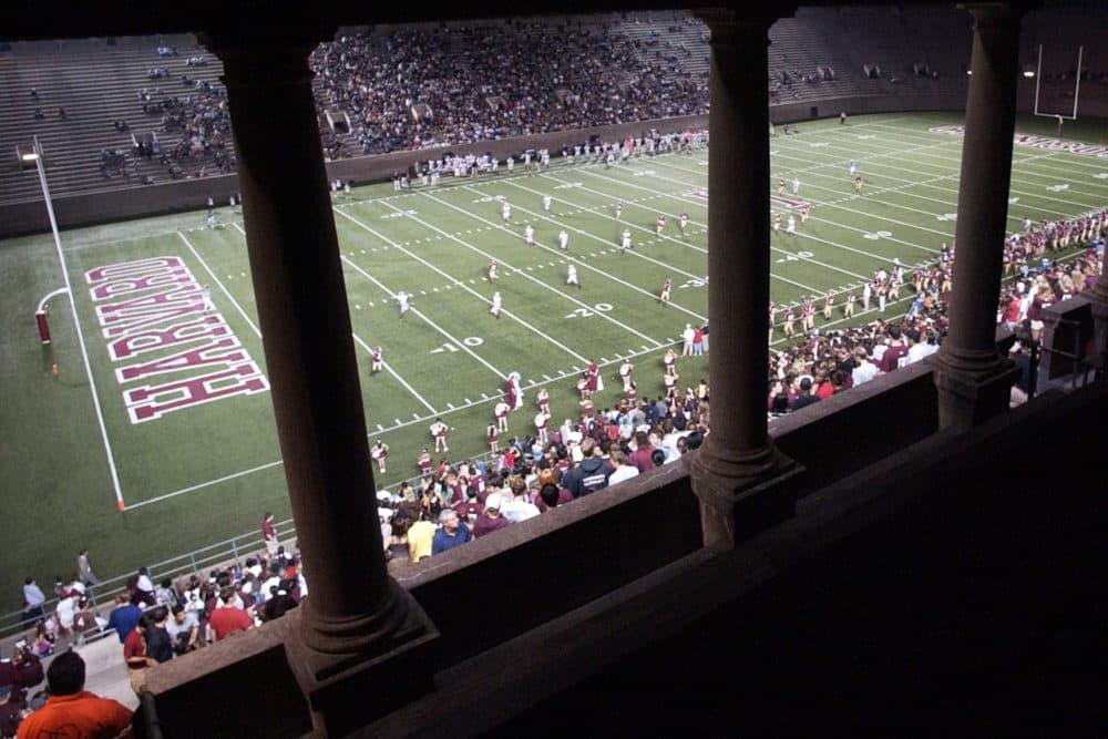 Fans watch the Harvard football team playing Brown in Cambridge at Harvard Stadium. (Lisa Poole/AP)