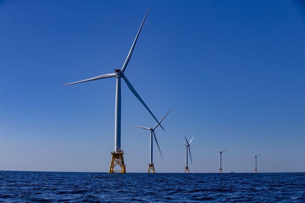 The five turbines of the Block Island Wind Farm off the coast of Rhode Island. (Jesse Costa/WBUR)