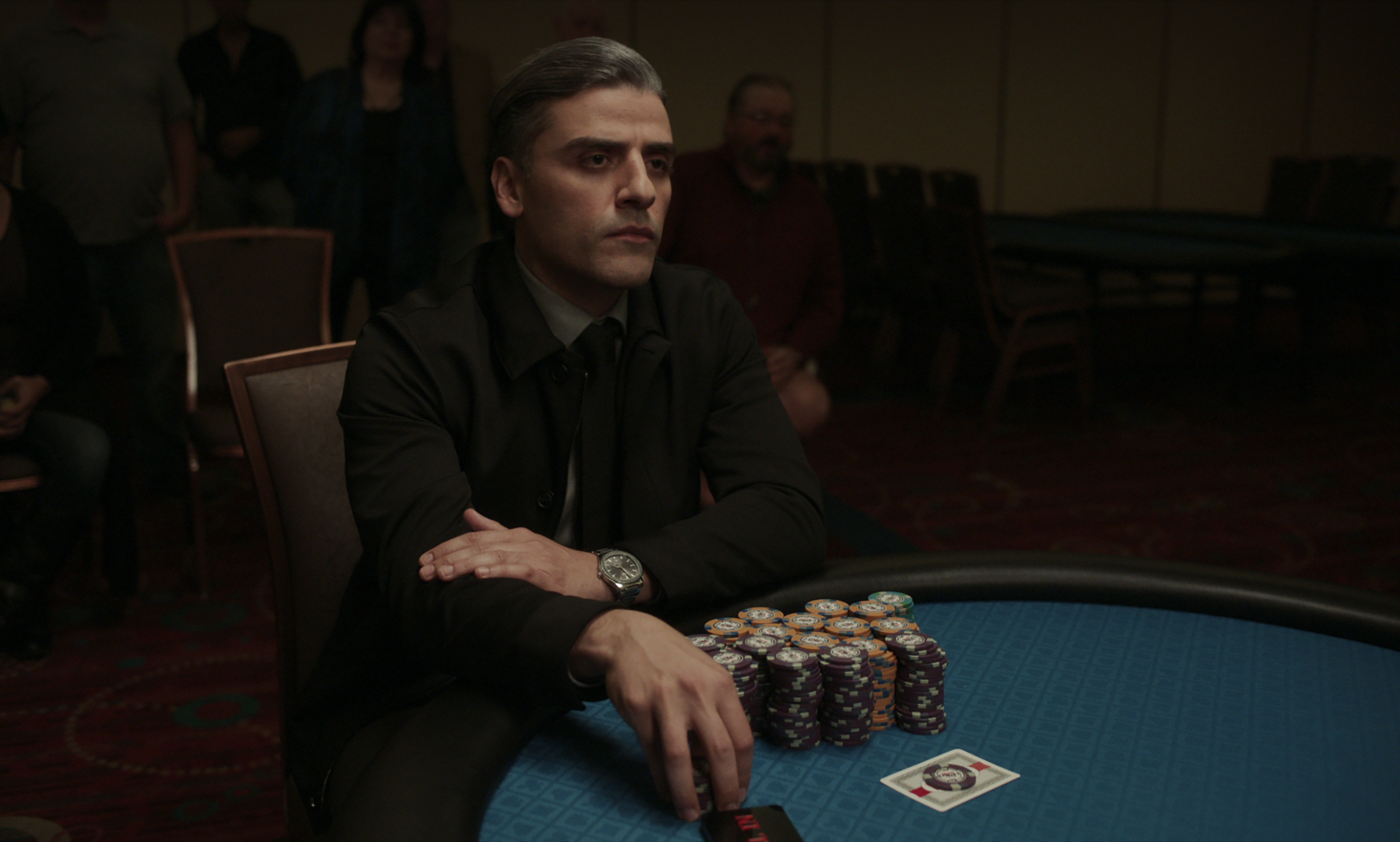 """Oscar Isaac as William Tell in """"The Card Counter."""" (Courtesy Focus Features)"""