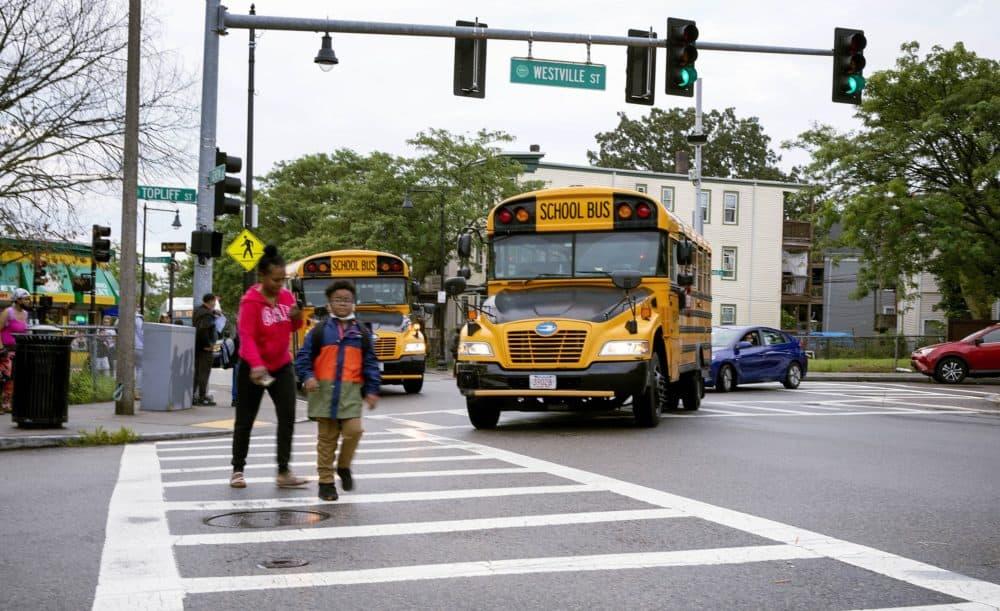 School buses on Geneva Avenue in Dorchester. (Robin Lubbock/WBUR)