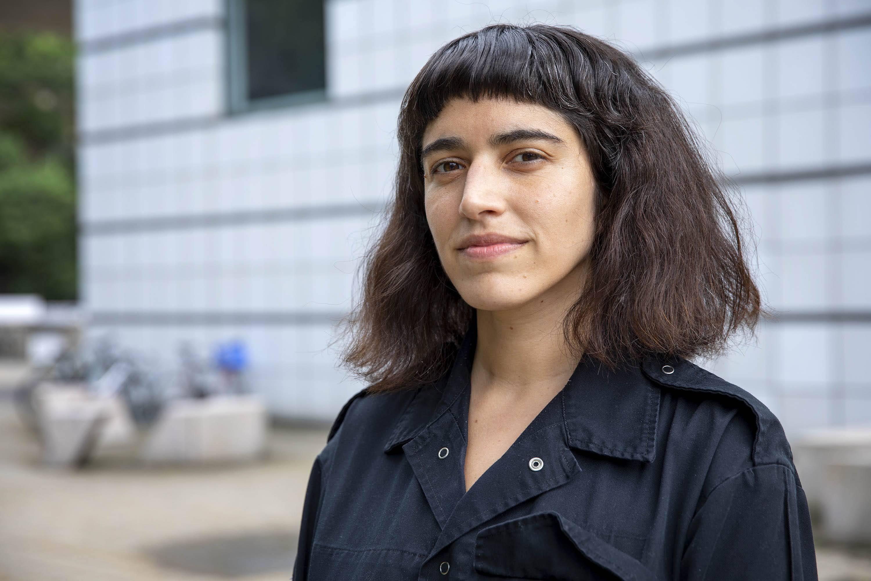 Artist Nicole L'Huillier by the Media Lab at MIT. (Robin Lubbock/WBUR)