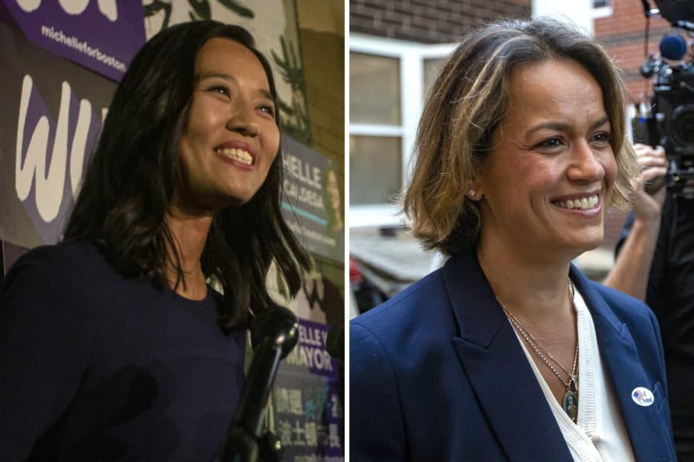 Boston City Councilors Michelle Wu, left, and Annissa Essaibi George, right, on the day of Boston's preliminary election. (Jesse Costa/WBUR)