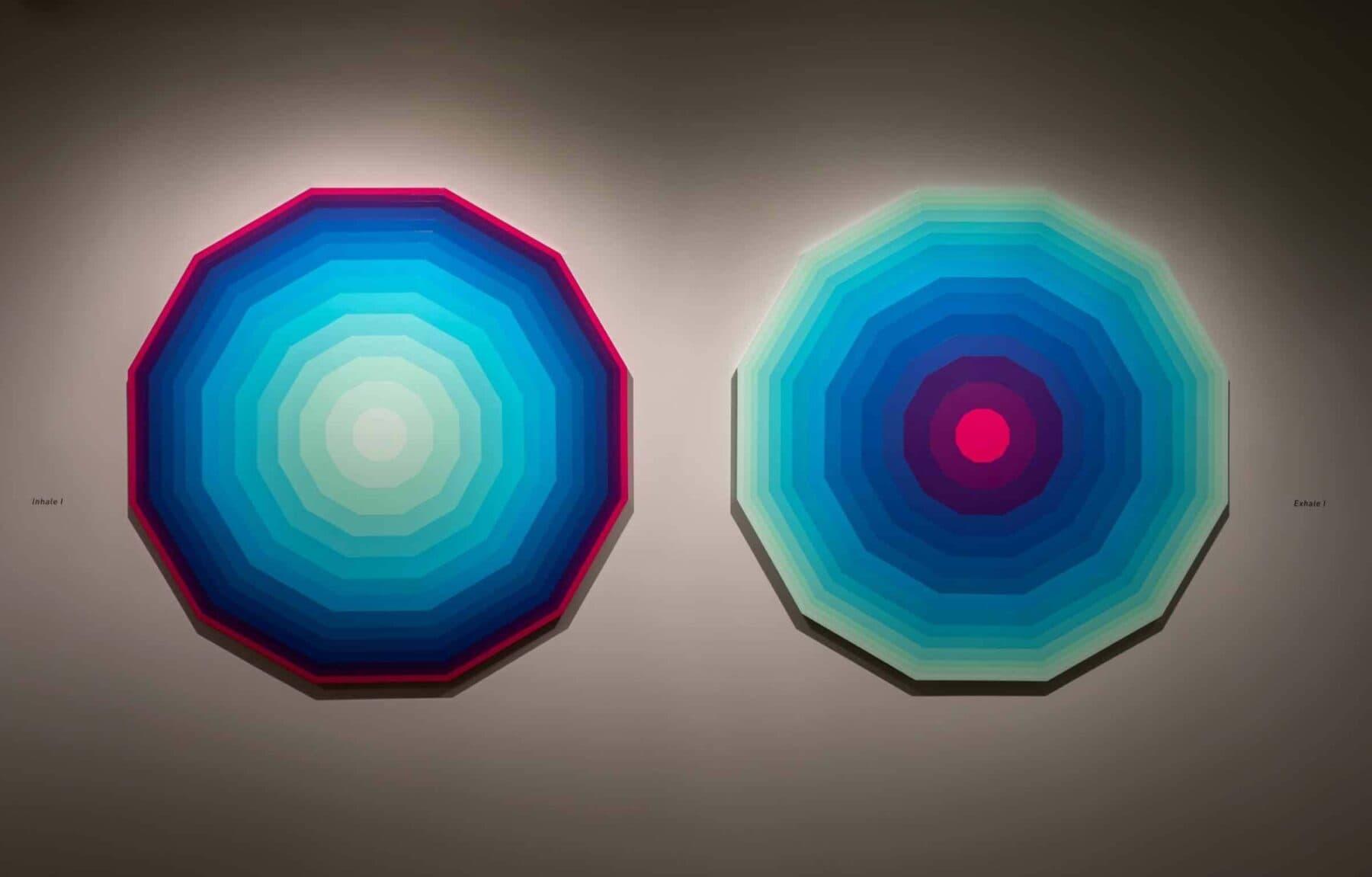 "Zarah Hussain, ""Inhale I"" (left) and ""Exhale I."" (Courtesy Kathy Tarantola/Peabody Essex Museum)"