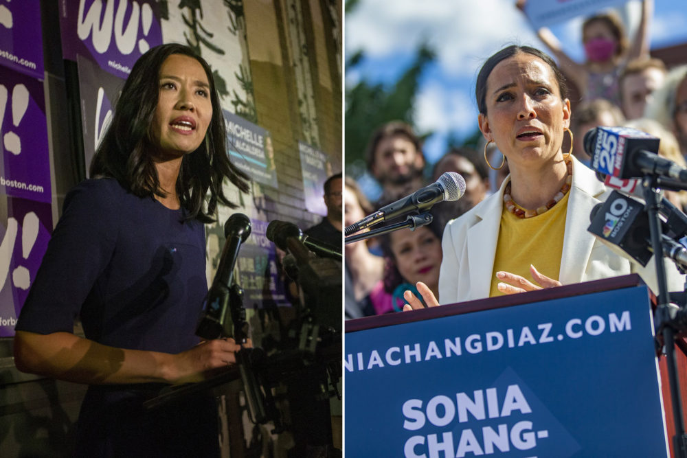 Michelle Wu, candidate for mayor of Boston, left, and gubernatorial candidate Sonia Chang-Diaz. (Jesse Costa/WBUR)