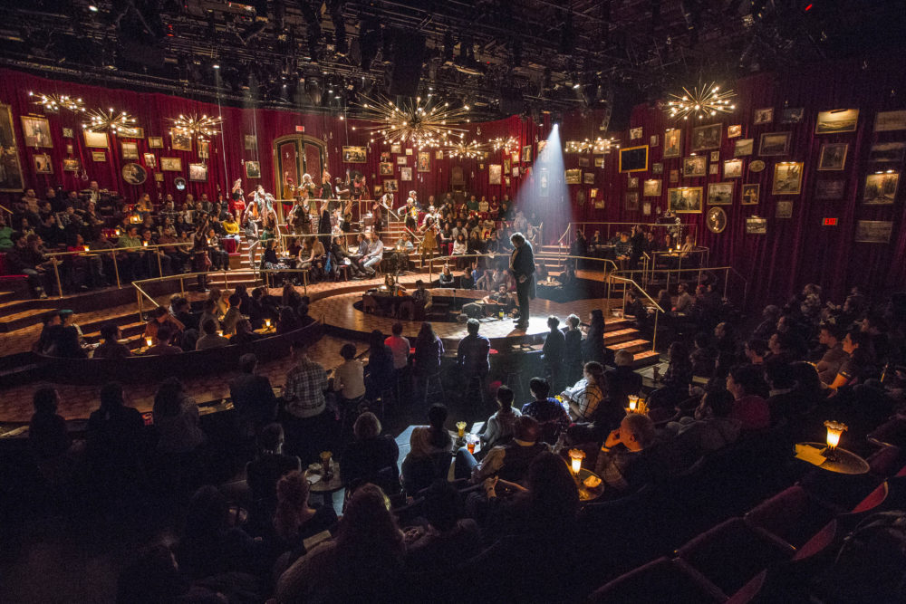 """A scene from the A.R.T.'s production of """"Natasha, Pierre & The Great Comet of 1812."""" Props from the theater's past productions are going on sale Friday in its first warehouse sale. (Courtesy Gretjen Helene Photography/A.R.T.)"""