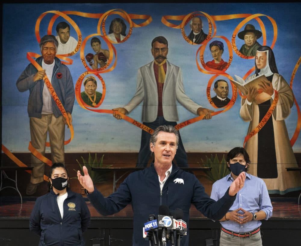 Gov. Gavin Newsom visits the Ramona Gardens Recreation Center in Los Angeles. (AP Photo/Damian Dovarganes, File)