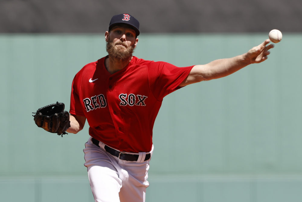 Boston Red Sox starting pitcher Chris Sale delivers against the Tampa Bay Rays during the first inning of a baseball game Sept. 6, 2021, at Fenway Park in Boston. (Winslow Townson/AP)