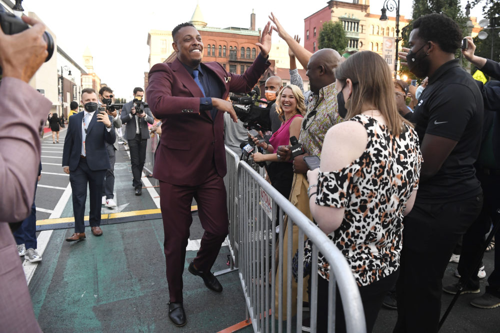Paul Pierce meets fans as he arrives for the 2021 Basketball Hall of Fame Enshrinement ceremony on Saturday in Springfield, Massachusetts. (Jessica Hill/AP)
