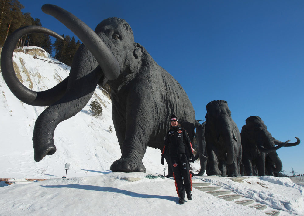 Tina Bachmann poses in front of mammoth figures during a photocall of the German Biathlon Woman Team at the Archeopark on March 10, 2011 in Khanty-Mansiysk, Russia. The Archeopark contains mammoth sculptures made of bronze. (Alexander Hassenstein/Bongarts/Getty Images)