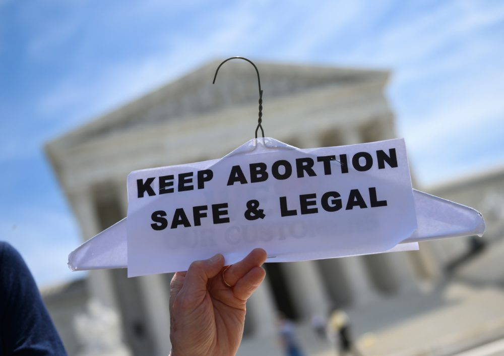 Abortion rights activists rally in front of the US Supreme Court in Washington, DC, on May 21, 2019. (Andrew Caballero-Reynolds/AFP via Getty Images)