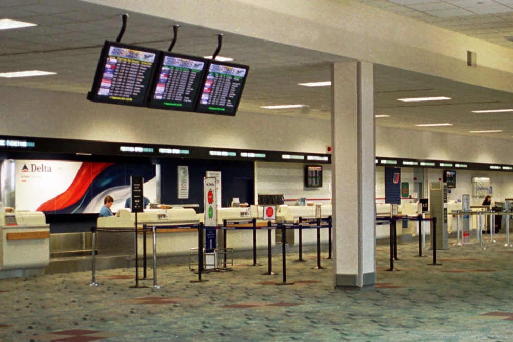 The ticketing and checking area at Dayton International Airport is completely abandoned Sept. 11, 2001 in Dayton, OH after all commercial air traffic was grounded by the aircraft hijackings and terrorist attacks. (Michael Williams/Getty Images)